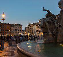 Evening On Piazza Navona Rome Italy - Fountain Of The Four Rivers by Georgia Mizuleva