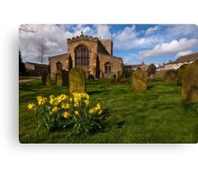 St Oswalds church at Easter Canvas Print
