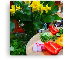 daffodils and salad Canvas Print