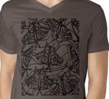Black Butterfly stencil Mens V-Neck T-Shirt