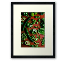 Green food on red Framed Print