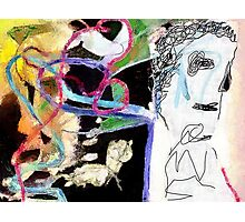 Man with abstract painting Photographic Print