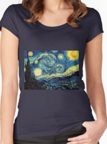 Vincent Van Gogh - Starry night  Women's Fitted Scoop T-Shirt