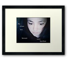 he never really understood how his absence made her feel Framed Print