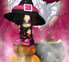 Cute And Pink Halloween Witch Card by Moonlake