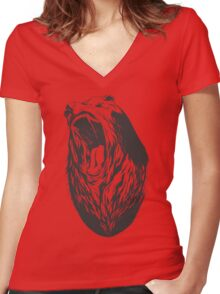 Roaring bear Women's Fitted V-Neck T-Shirt