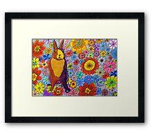 306 - FLORAL BUNNY - DAVE EDWARDS - COLOURED PENCIL & INK - 2010 Framed Print