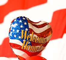 Welcome Home Balloon Against an American Flag by Buckwhite