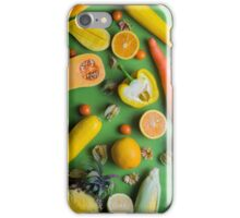 Yellow food on green iPhone Case/Skin