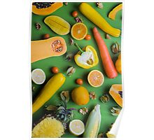 Yellow food on green Poster