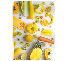Yellow food on white Poster