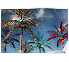 Plastic Palm Trees against Blue Sky Poster