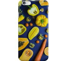 Yellow food on blue iPhone Case/Skin
