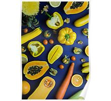 Yellow food on blue Poster
