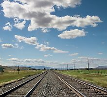 Railroad Tracks and Cloudy Sky by Stacey Lynn Payne