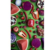 Red food on green Photographic Print