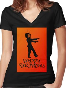 Zombie TV Guy Happy Birthday Greeting Card by Chillee Wilson Women's Fitted V-Neck T-Shirt