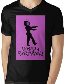 Zombie TV Guy Happy Birthday Greeting Card by Chillee Wilson Mens V-Neck T-Shirt