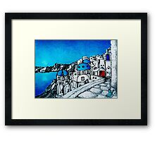 SANTORINI BLUE Framed Print