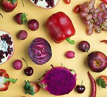 Red food on yellow by Alita  Ong