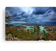 Panorama of Plastiras lake Canvas Print