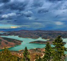 Panorama of Plastiras lake Sticker