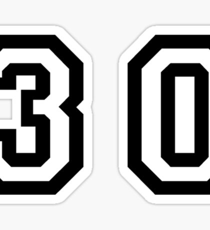 Number Thirty Sticker