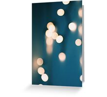 Blue and yellows bokeh lights Greeting Card