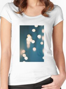 Blue and yellows bokeh lights Women's Fitted Scoop T-Shirt