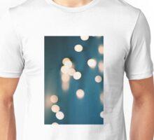 Blue and yellows bokeh lights Unisex T-Shirt
