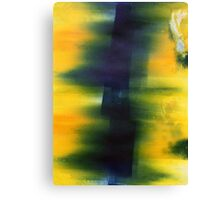Blue and yellow monoprint, vibrancy Canvas Print