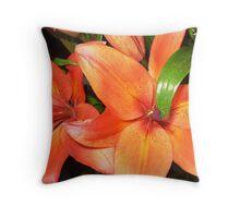 Bright Orange Lilies - always a good model Throw Pillow