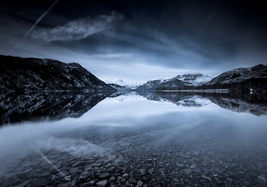 Ullswaters Reflections in Monochromatic by Brian Kerr