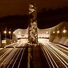 Night at Melba Tunnel in Sepia by Jason Green