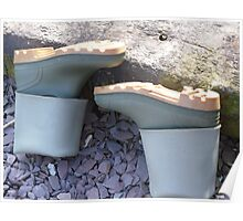 Washed Wellies Drying Out Poster