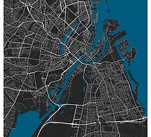 Copenhagen city map black colour by mmapprints