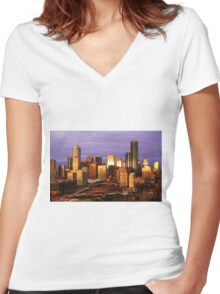 Melbourne at sunset, from Docklands Women's Fitted V-Neck T-Shirt