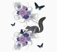 Playful Squirrel and Butterflies Kids Tee