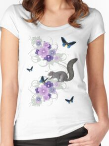Playful Squirrel and Butterflies Women's Fitted Scoop T-Shirt