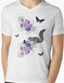 Playful Squirrel and Butterflies Mens V-Neck T-Shirt