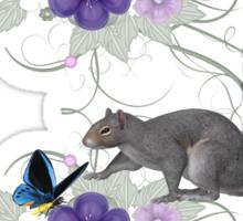 Playful Squirrel and Butterflies Sticker
