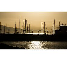 Naples, Italy Harbour Lights Photographic Print