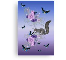 Playful Squirrel and the Butterflies Canvas Print