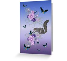 Playful Squirrel and the Butterflies Greeting Card
