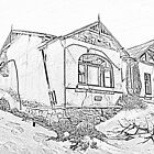 Sketch of deserted house in Kolmanskoppe by Rudi Venter