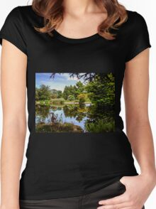Lakeside reflections.  Women's Fitted Scoop T-Shirt