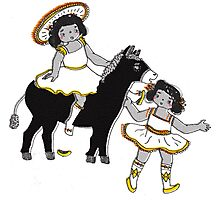 2 Little Girl Fun Ride on a Donkey Photographic Print
