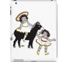 2 Little Girl Fun Ride on a Donkey iPad Case/Skin