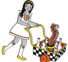 Funky School Girl with a Snake Trolley by sparrowprince
