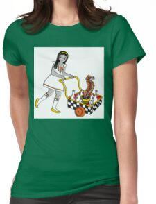 Funky School Girl with a Snake Trolley Womens Fitted T-Shirt